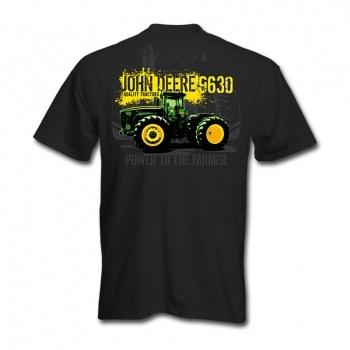 John Deere Mens Black T-Shirt - Power To The Farmer - Back Print