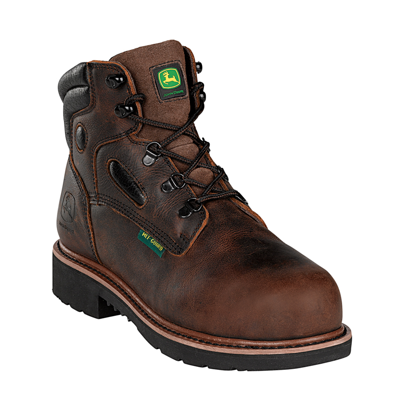 ... John Deere Mens Brown Leather 6 Mahogany Steel Toe Lace-Up Work Boots