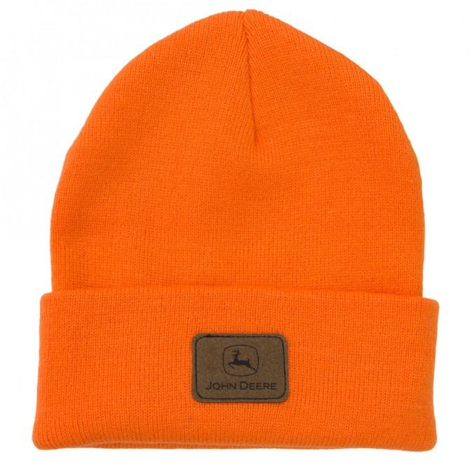 ... Hats —— John Deere Logo Patch Beanie HV - High Visibility Orange