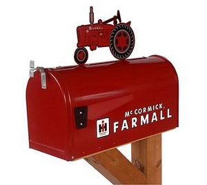 ... > McCormick Farmall M Rural Style Mailbox with Tractor Topper