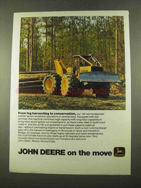 1975 John Deere JD640 Grapple Skidder Ad - Log