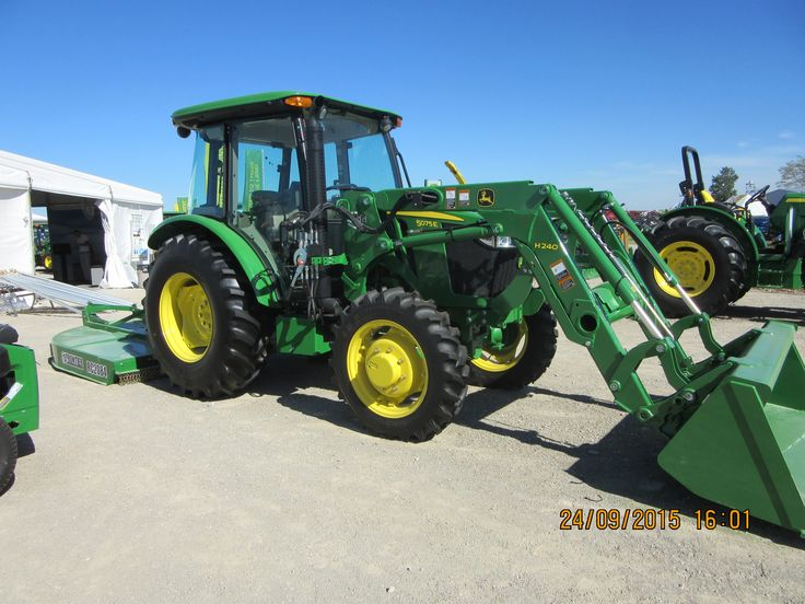 John Deere 5075E & H240 loader on front & Frontier RC2084 mower on ...