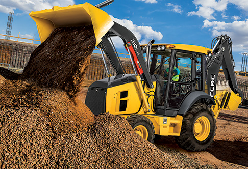 Left side view of the 310L EP Backhoe Loader with loader raised and ...