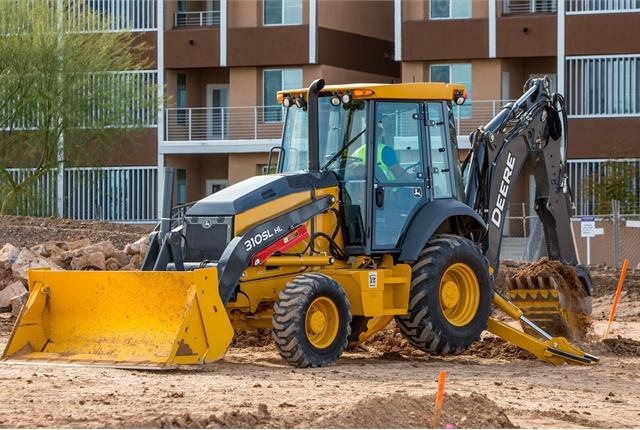 The John Deere 310SL HL (heavy lift) backhoe loader is engineered for ...
