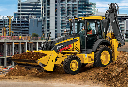 Left side view of the 315SL Backhoe Loader moving dirt in bucket to a ...