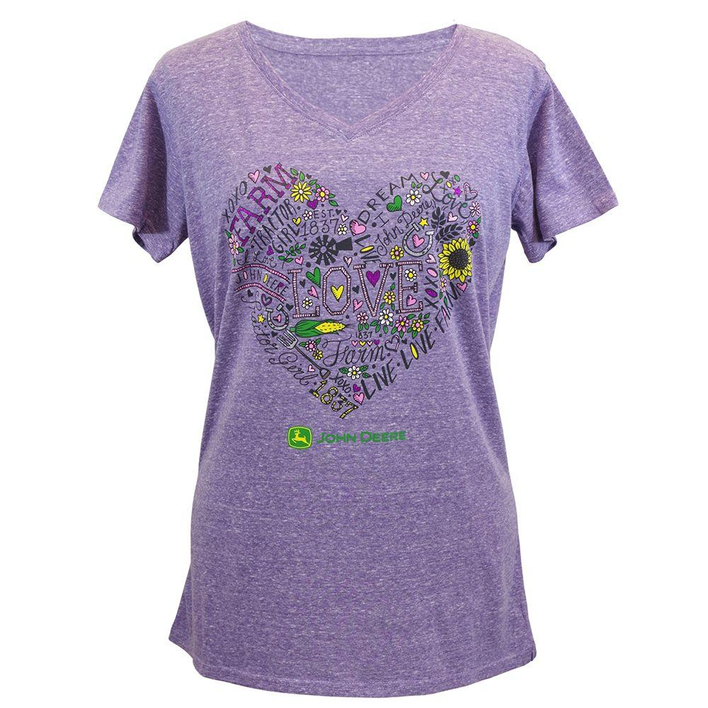 John Deere T-Shirts Ladies XXL Love To Farm Heart V-Neck T-Shirt in ...