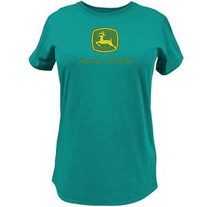 Women's Turquoise Glitter Logo T-Shirt