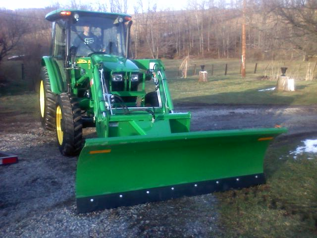 John Deere 5083e Utility Tractor With Loader Snow Plow & Dozer Blade ...
