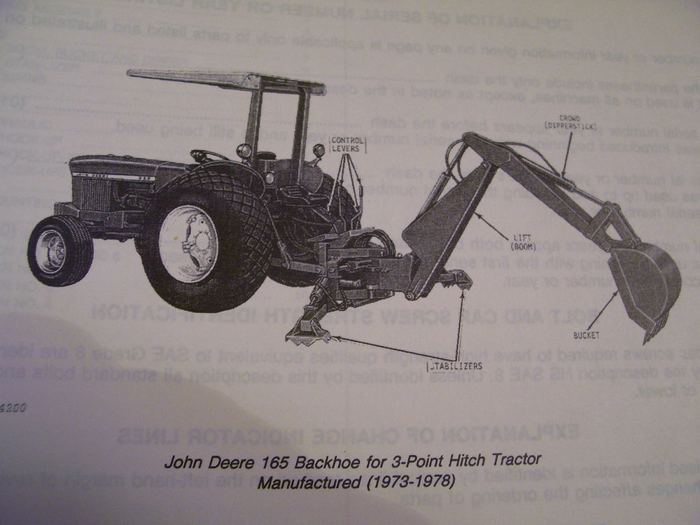 VINTAGE JOHN DEERE PARTS MANUAL -165 BACKHOE - 1980 | eBay