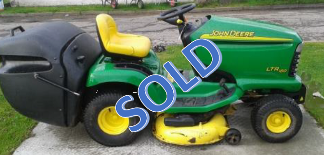 Used John Deere LTR180 Ride-On Lawn Mower c/w Snow Blade & Chains