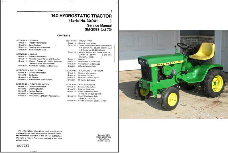 John Deere 140 Service Manual submited images.