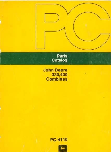 John Deere Combine 330 & 430 Parts Manual