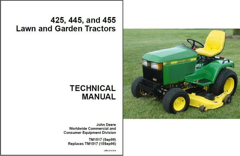 John Deere 425 445 455 Lawn & Garden Tractor Service ...