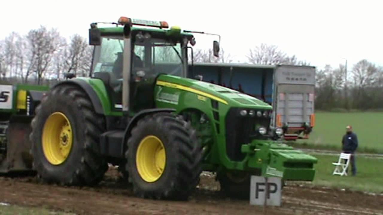 John Deere 8530 tractor pulling 28/4 2012 Denmark - YouTube