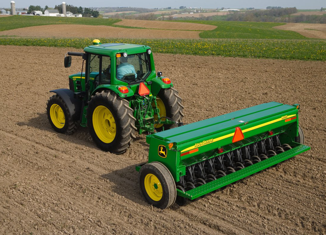 view of John Deere tractor with BD11 Series End-Wheel Grain Drill ...