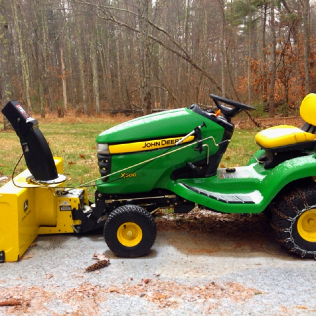 John Deere X300 with 46 two-stage snow blower attachment ...