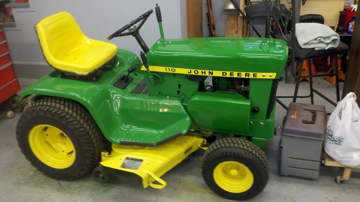 1968 John Deere 110 Lawn Tractor with Attachments on PopScreen