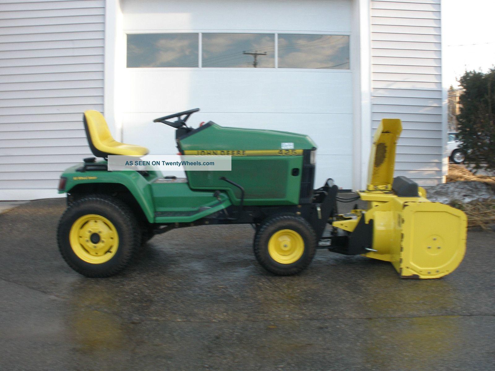 John Deere 425 All Wheel Steer Tractor W/ Snow Blower ...