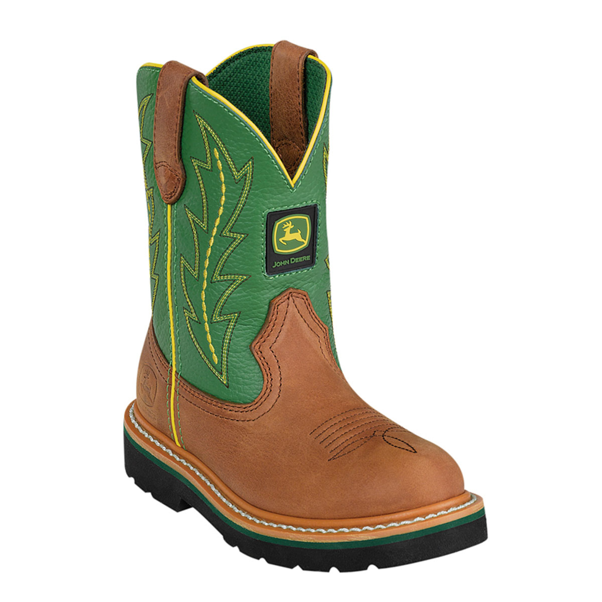 ... about John Deere Youth Boys Green Leather Classic Pull-On Cowboy Boots