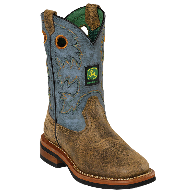 John Deere Youth Boys Leather Square Toe Pull on Cowboy Boots | eBay