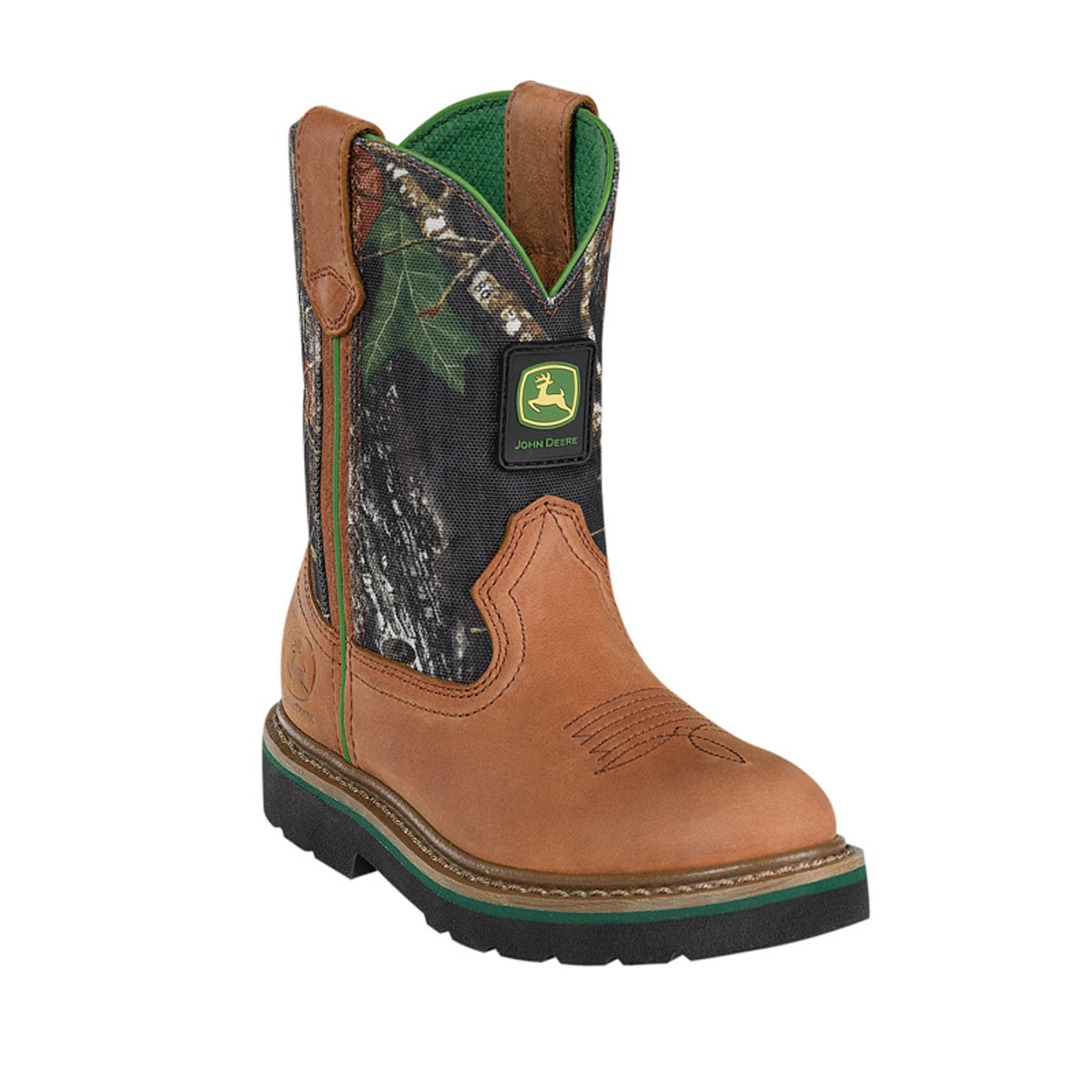 John Deere Youth Boys Camo Mossy OAK Leather Classic Pull ON Cowboy ...