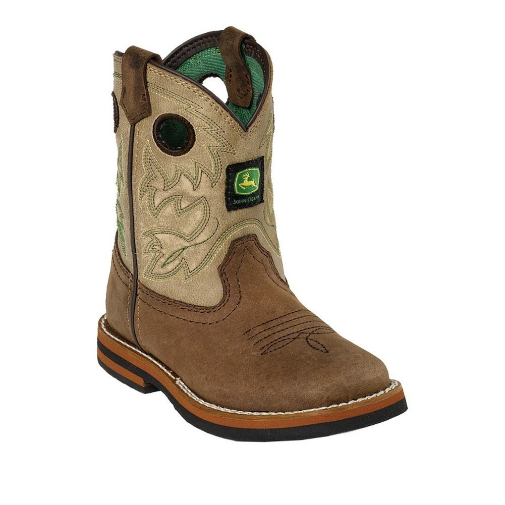 John Deere Toddler Boy Girl Sanded Tan Top Leather Boots 5-8 ...