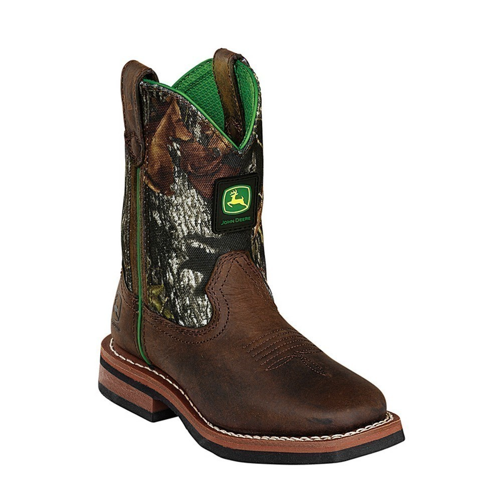 John Deere Boys Girls Brown Camo Top Leather Baby Boots 11-3 ...
