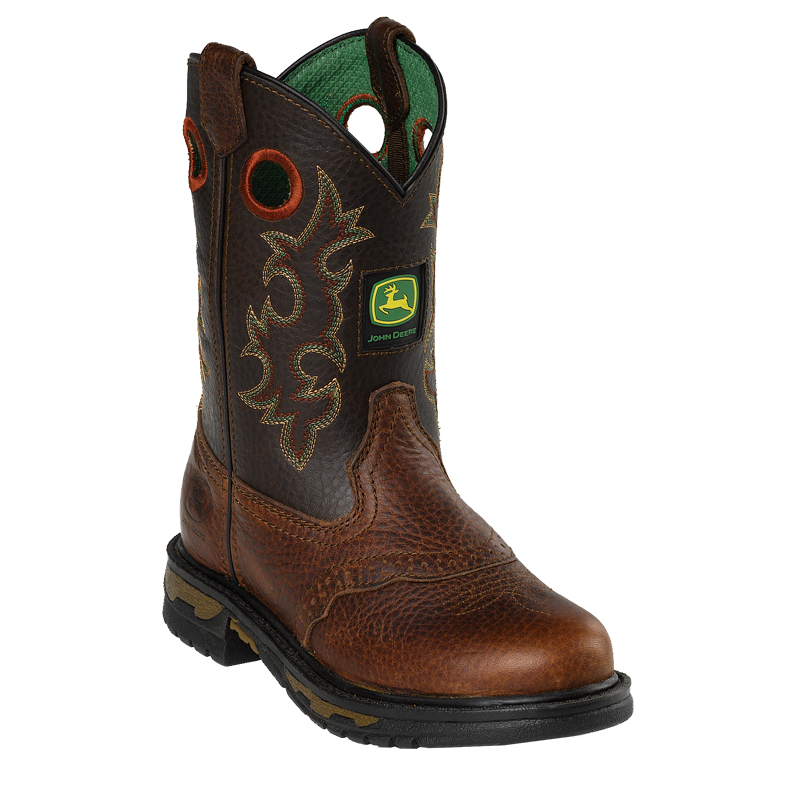 ... about John Deere Children Boys Copper Leather Saddle Vamp Cowboy Boots
