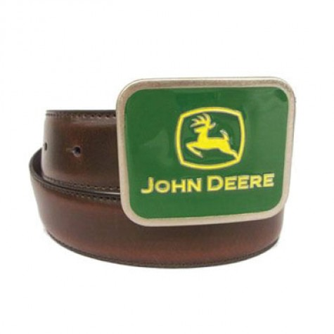 An enamel John Deere logo buckle is prominently featured on this brown ...
