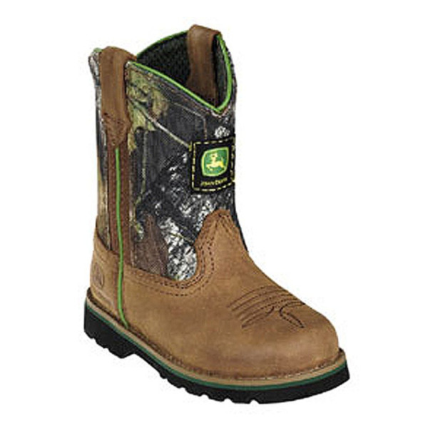 John Deere John Deere Boys Girls Tan Camo Leather Western Style Boots ...