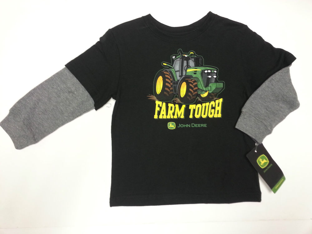 NEW John Deere Long Sleeve Layered Look Black Farm Tough T-Shirt Size ...