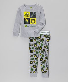 Look at this John Deere Heather Gray Farming Pajama Set - Infant ...