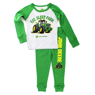 John Deere Infant Pajamas Set with Eat Sleep Farm on front