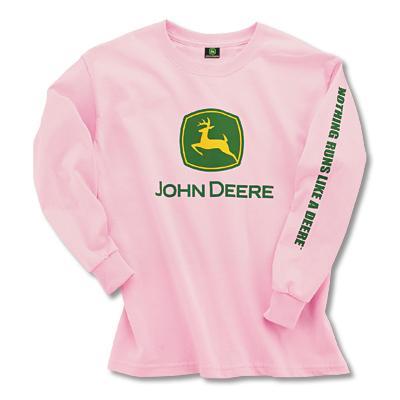 John Deere Youth Girl's Light Pink Logo Long Sleeve Shirt | WeGotGreen ...