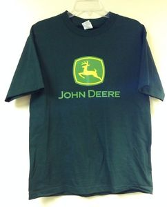 John Deere t shirt mens Medium Dark green short sleeve logo tractor ...