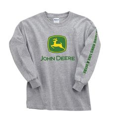 John Deere Sport Grey Youth Large Long Sleeve Trademark T-Shirt