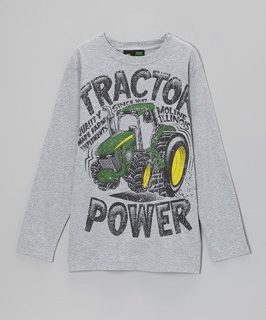 ... Gray 'Tractor Power' Long-Sleeve Tee - Boys by John Deere on #zulily
