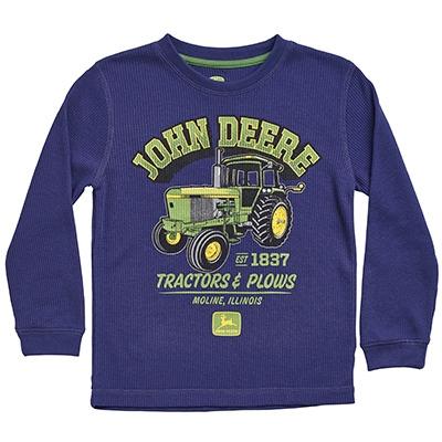 John Deere Boy's Navy Tractors & Plows Thermal Long Sleeve Shirt ...
