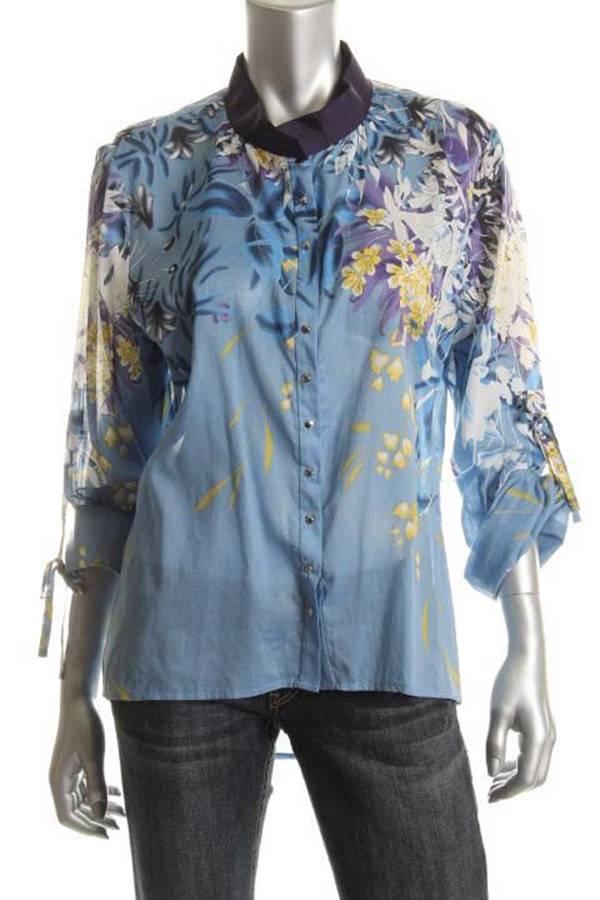 TAHARI by Elie Tahari Panama Blue Print LAMBERT Blouse Top NWT SMALL ...