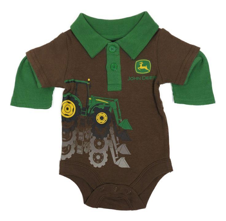 Green Long Sleeve Onesie w/ Loader Tractor | Kids John Deere Clothing ...