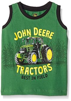 John Deere Little Boys' Tractors Sleeveless T-Shirt, Green, 4T