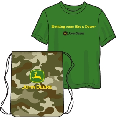 Youth Boy's Green John Deere T-shirts with String Bag | WeGotGreen.com