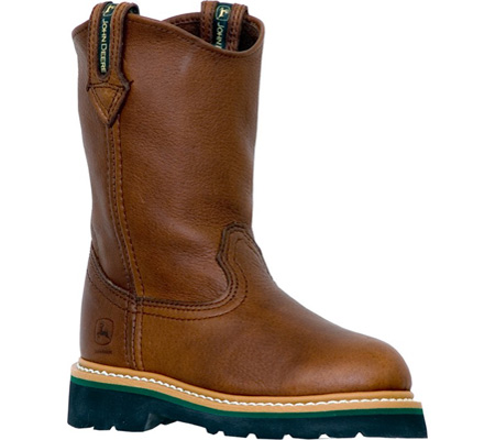 Childrens John Deere Boots Leather Wellington 2113 - Brown Walnut ...