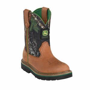 John-Deere-Youth-Wellington-Kids-Boot-Brown-amp-Mossy-Oak-Camouflage ...