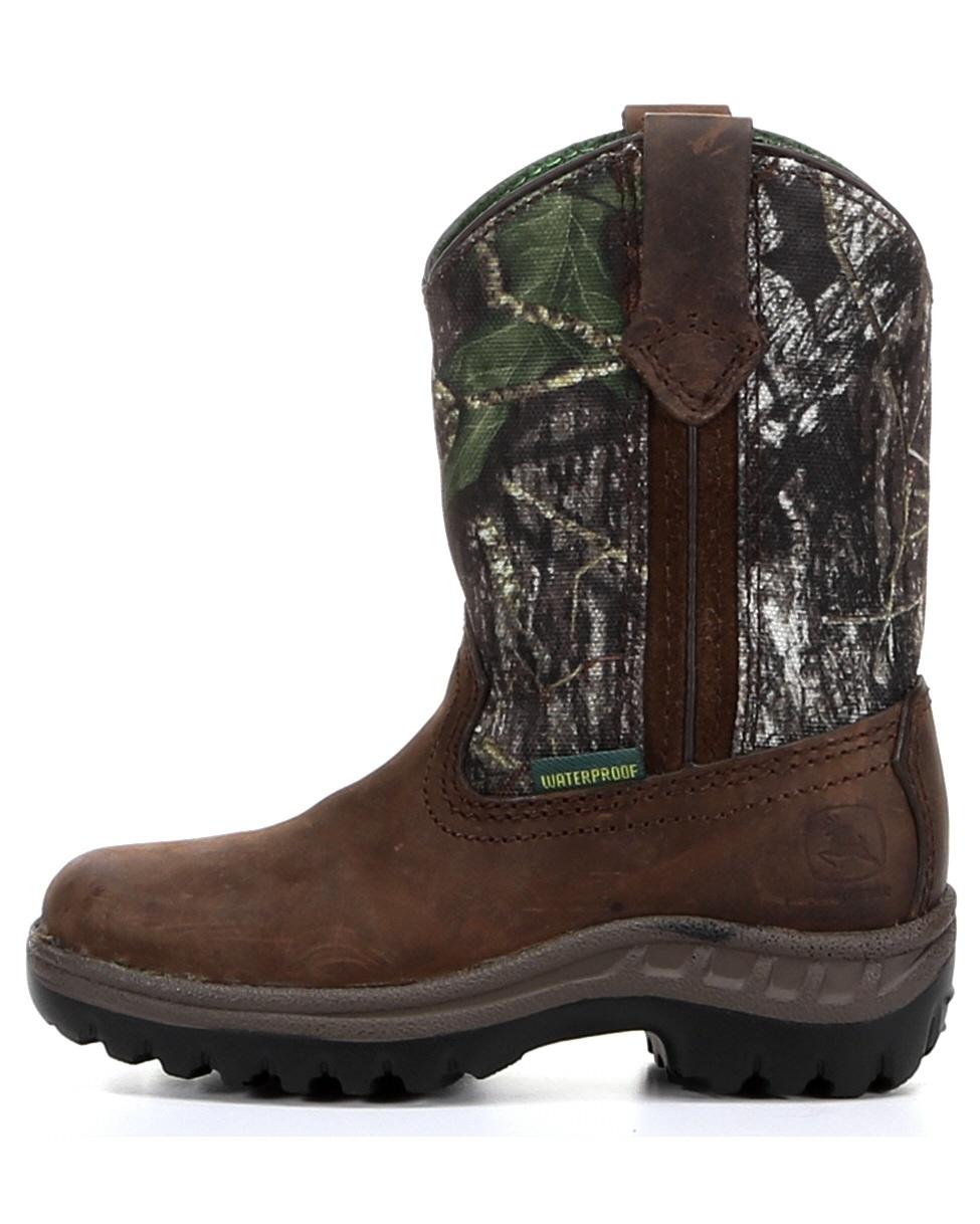 John Deere Boy's Waterproof Pull-On Boot - Mossy Oak
