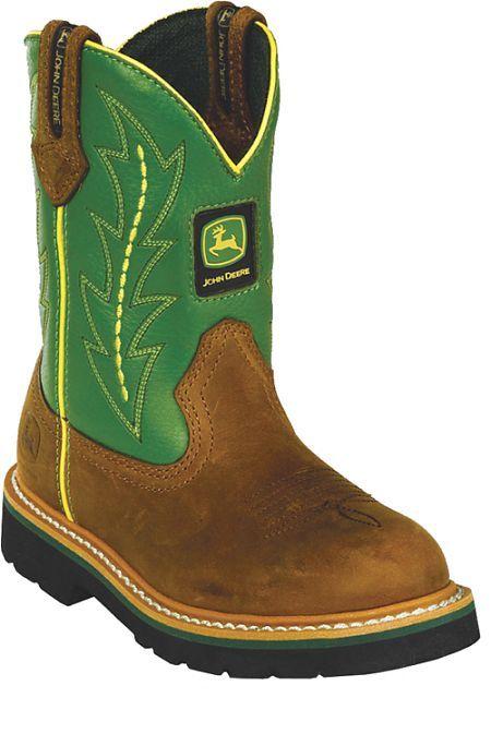 Kids John Deere Boots Green | Kids Cowboy Boots | Pinterest