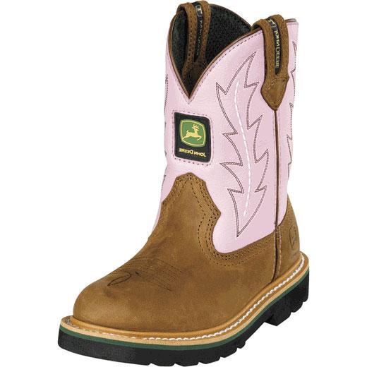 John Deere Youth Wellington Kids Cowboy Boot Brown Pink JD3185 | eBay