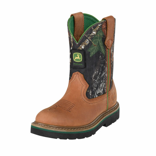 John Deere Youth Wellington Kids Boot Brown & Mossy Oak Camouflage ...