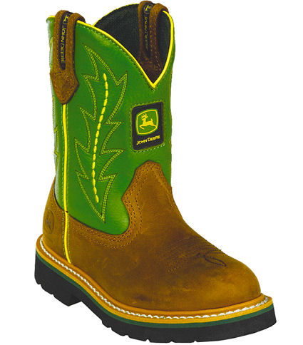 John Deere Boots Youth Johnny Popper Tan Crazy Horse With Green Shaft ...
