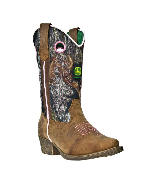 John Deere Youth's Western Pull-On Boot - Brown/Camo